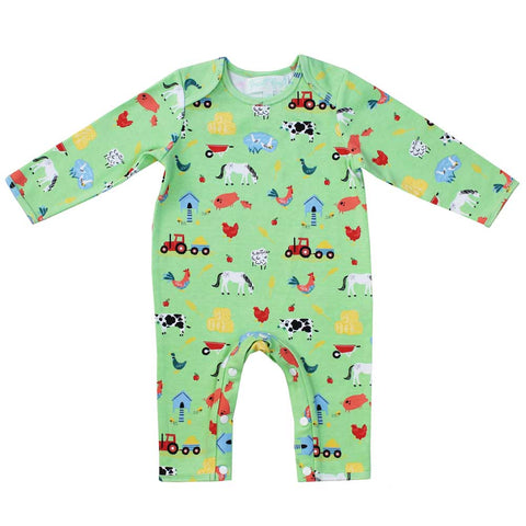 Safari Print Long Sleeve Baby Jumpsuit