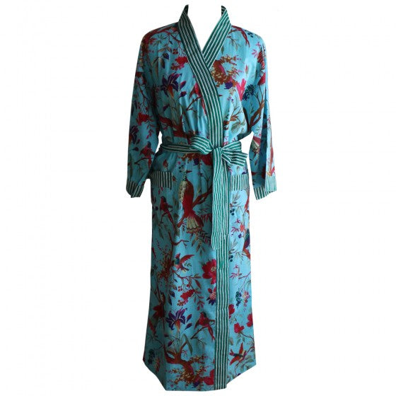 Turquoise Blue Birds Of Paradise Cotton Dressing Gown by Powell Craft