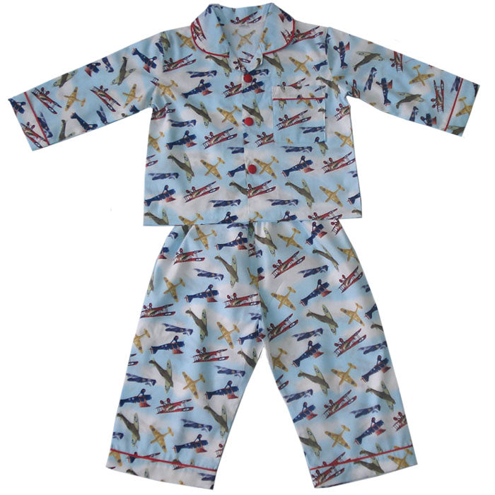 Children's Aeroplane Print Cotton Pyjamas