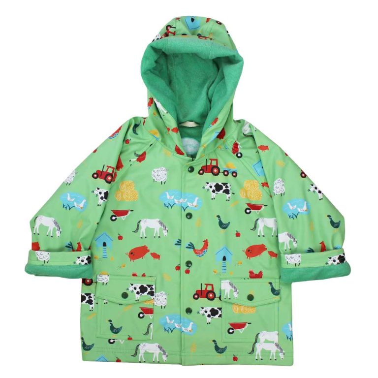 Children's Green Farmyard Hooded Raincoat