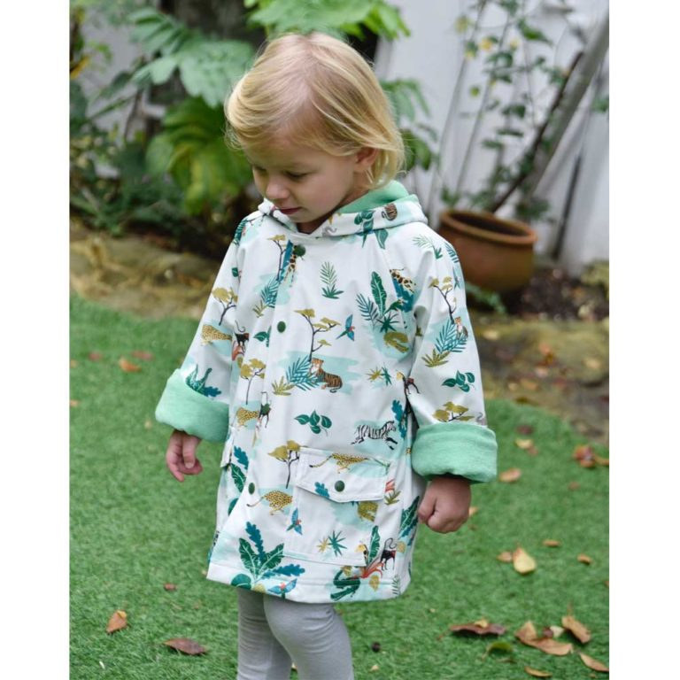 Unisex White Safari Print Raincoat