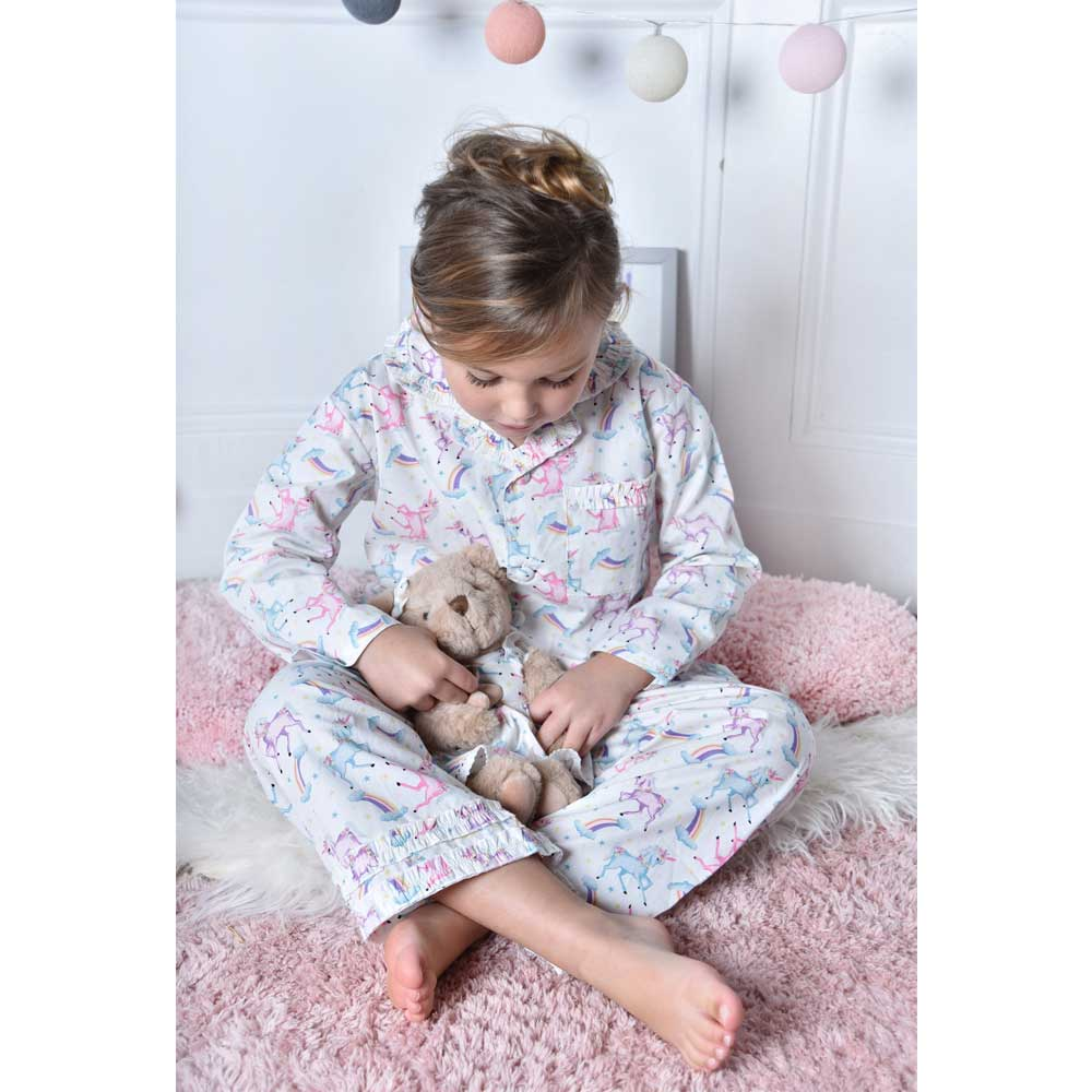 Girls Cotton Unicorn Print Pyjamas