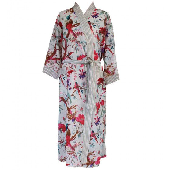 Cream Birds of Paradise Cotton Dressing Gown by Powell Craft