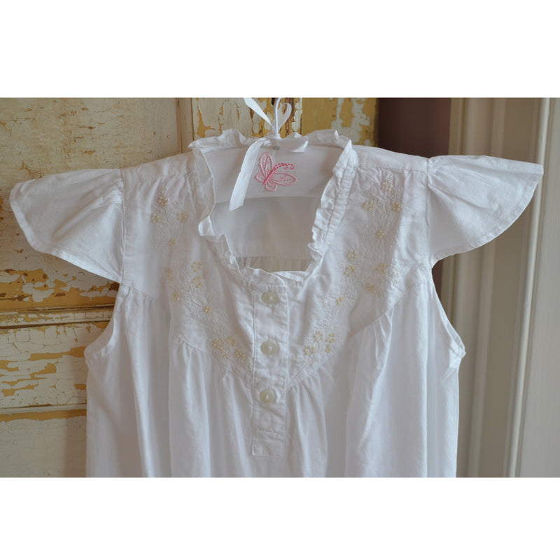 Girls White Cotton Capped Sleeve Nightdress with Seed Pearls