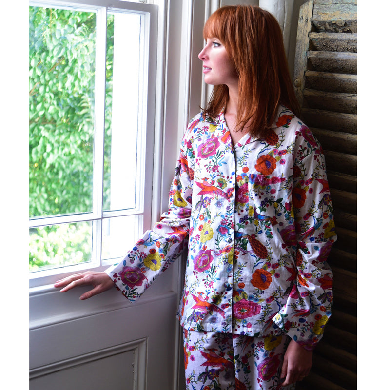 White and Orange Cotton Peacock Print Pyjamas