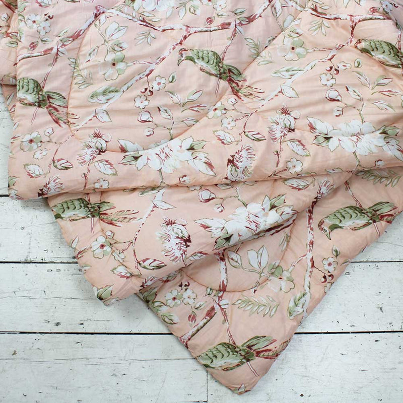 Peach Blossom and Birds Cotton Indian Bed Quilt