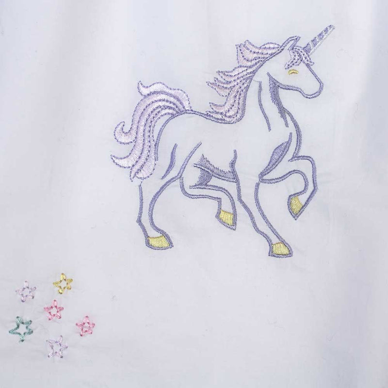 Girls White Cotton Unicorn Embroidered Nightdress