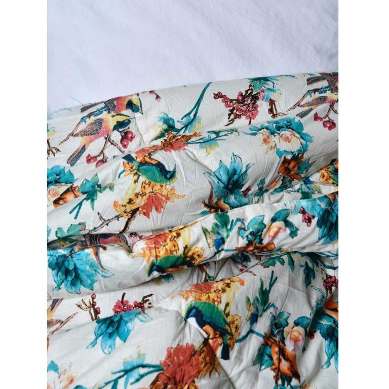 Turquoise Hummingbird Print Cotton Indian Bed Quilt