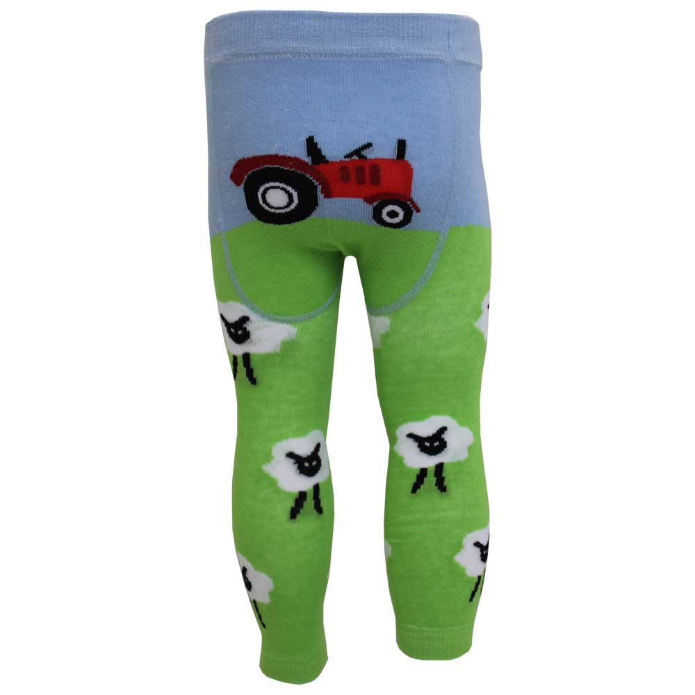Boys Green Farmyard Tractor Leggings