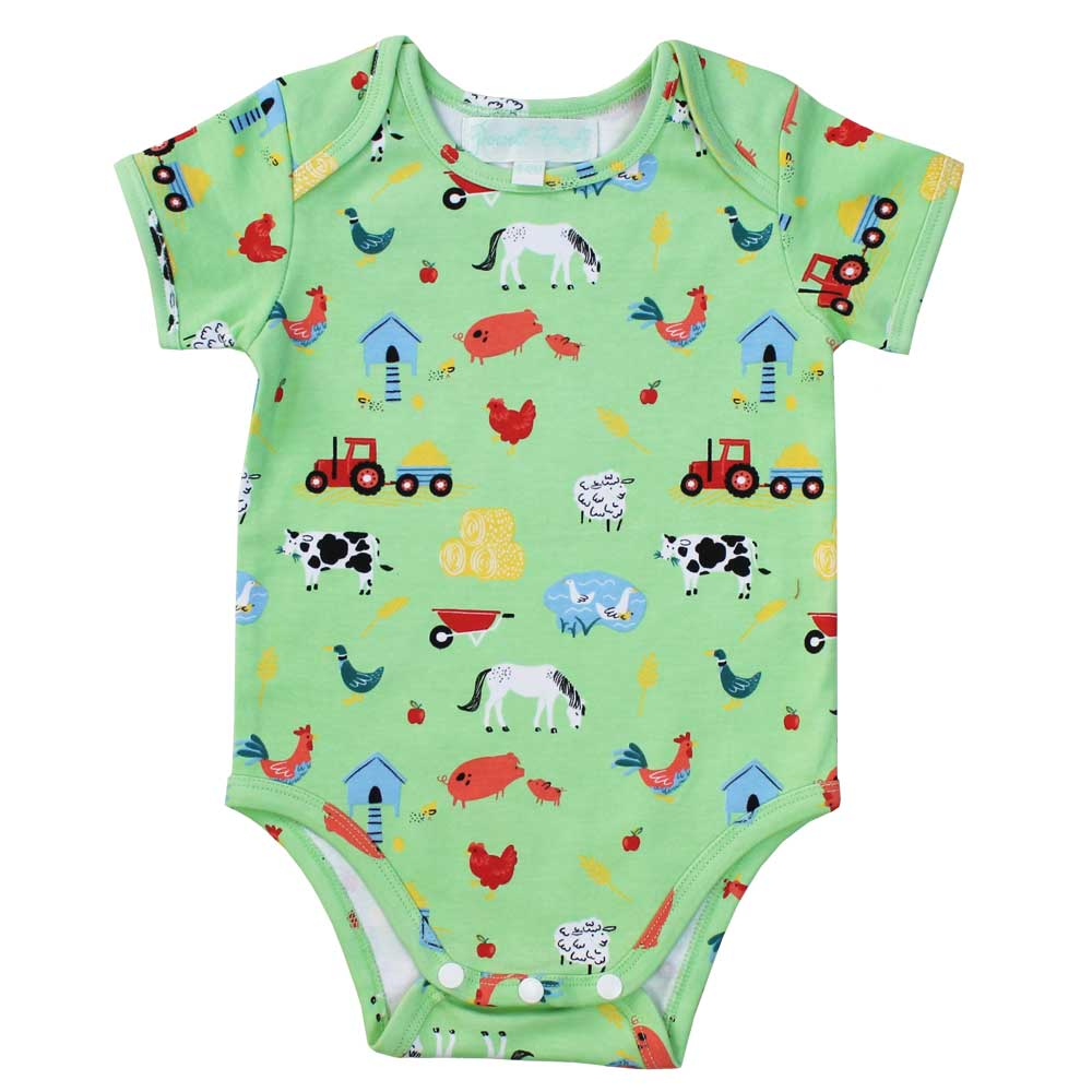 Unisex Farmyard Print Cotton Baby Grow