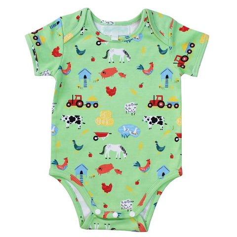 Baby Boy Long Sleeve Cotton Knit Farmyard Jumpsuit by Powell Craft