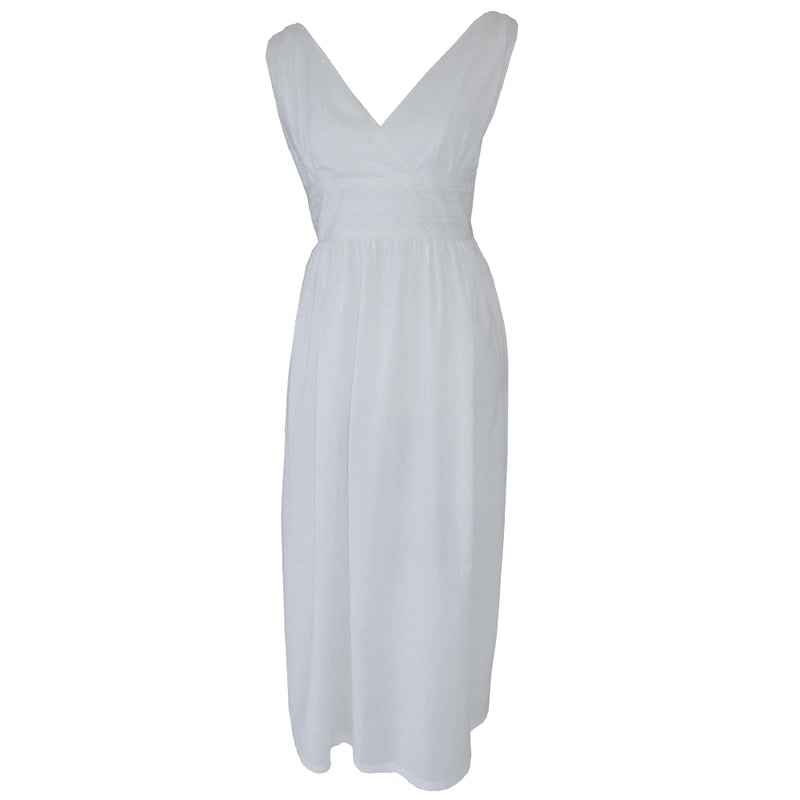 Ladies White Cotton Sleeveless V-Neck 'Henrietta' Nightdress