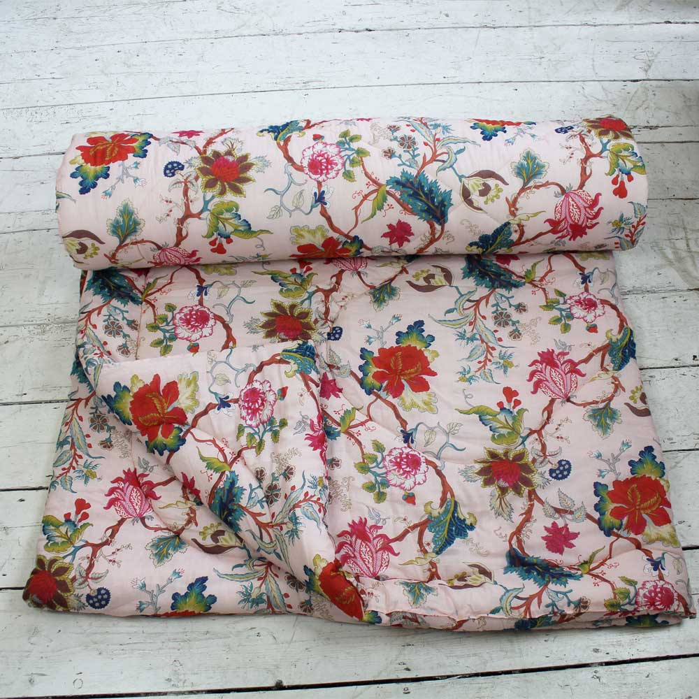 Pink Floral Print Cotton Indian Bed Quilt