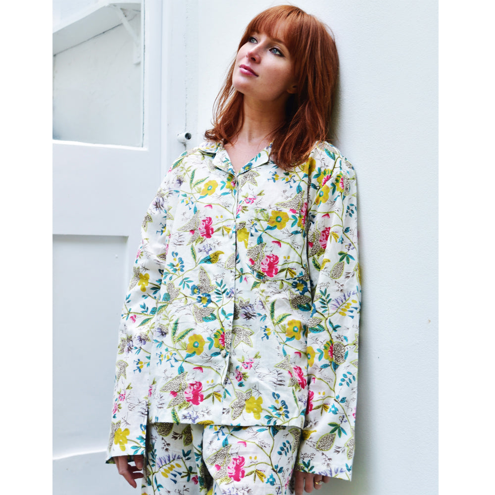 Ladies White Leaf Floral Print Cotton Pyjamas