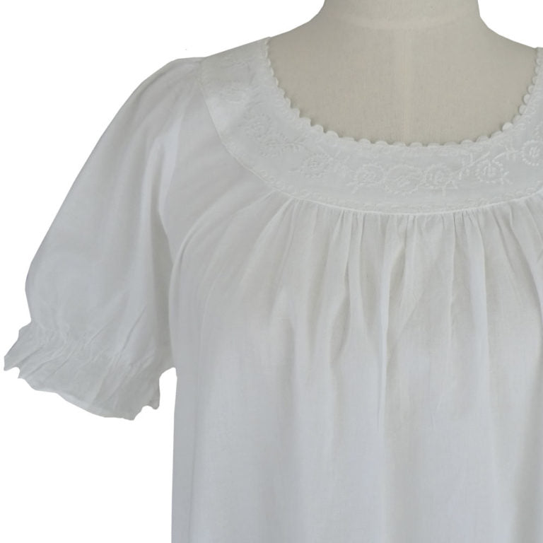 Ladies White Cotton Puff Sleeve Nightdress 'Juliet'