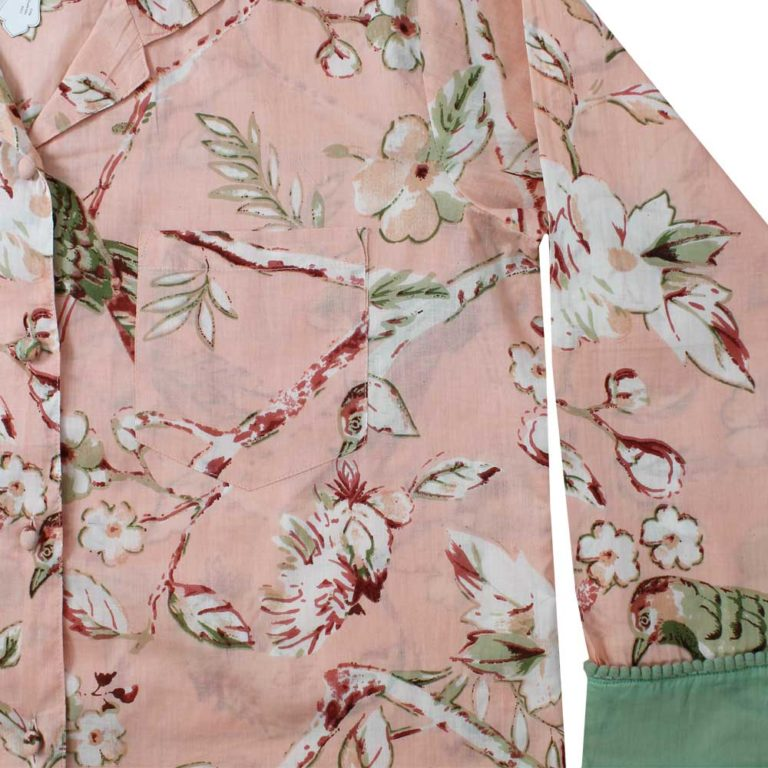 Ladies Peach Blossom and Bird Print Cotton Pyjamas