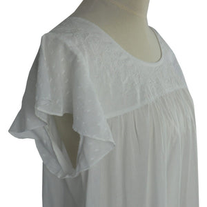 Ladies White Cotton Capped Sleeve Nightdress 'Nadine'