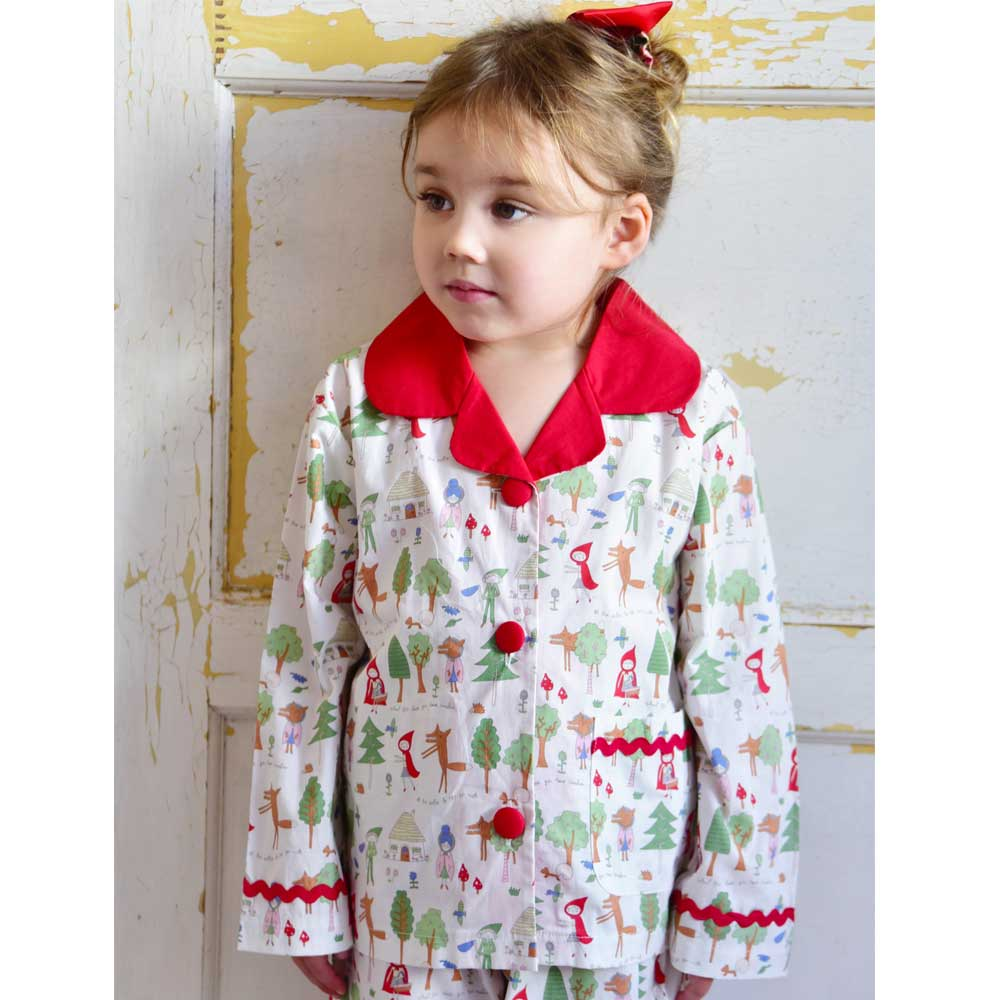 Girls Cotton Little Red Riding Hood Print Pyjamas
