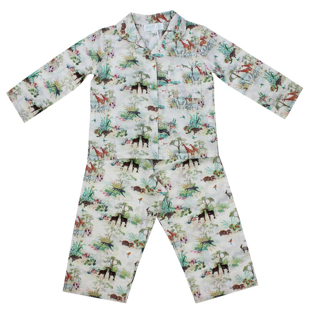 Girls Cotton Vintage Jungle Print Long Sleeve Pyjamas