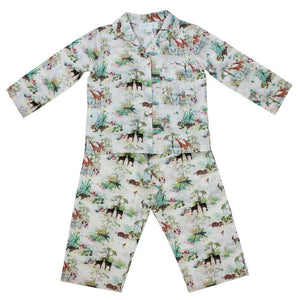 Unisex Cotton Vintage Safari Print Long Sleeve Pyjamas