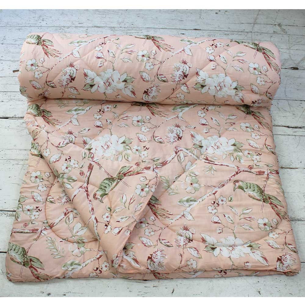 Peach Blossom and Birds Print Cotton Indian Bed Quilt