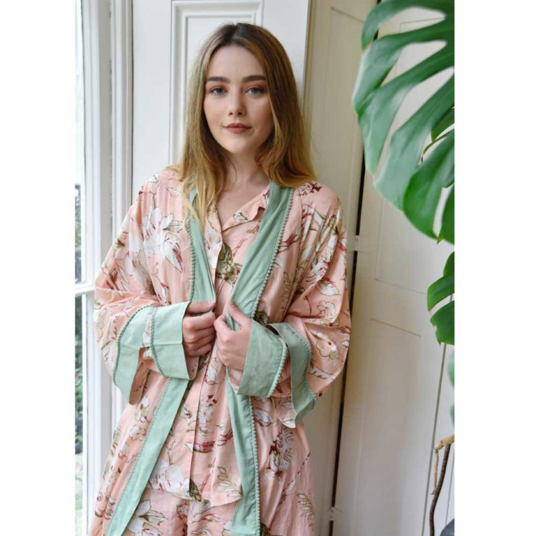 Ladies Peach Blossom and Birds Print Cotton Dressing Gown