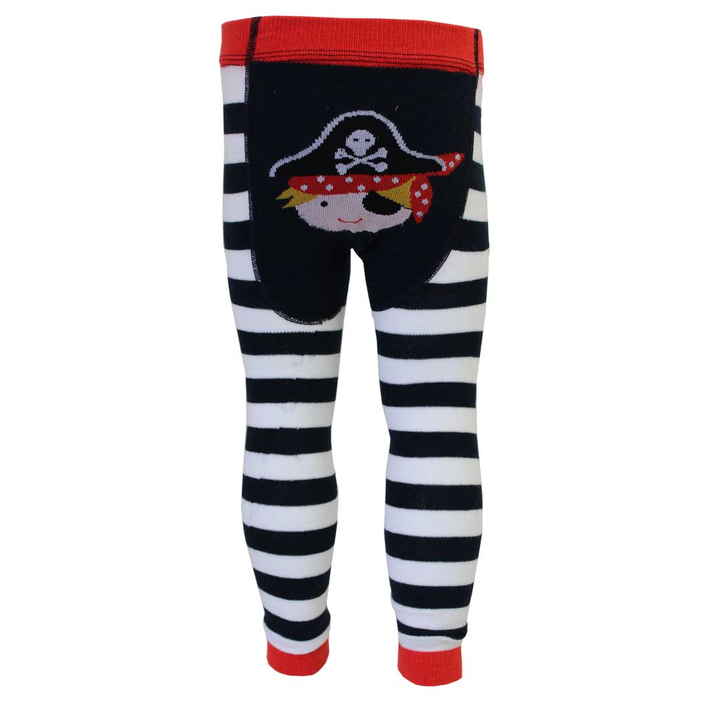 Boys Black & White Pirate Leggings