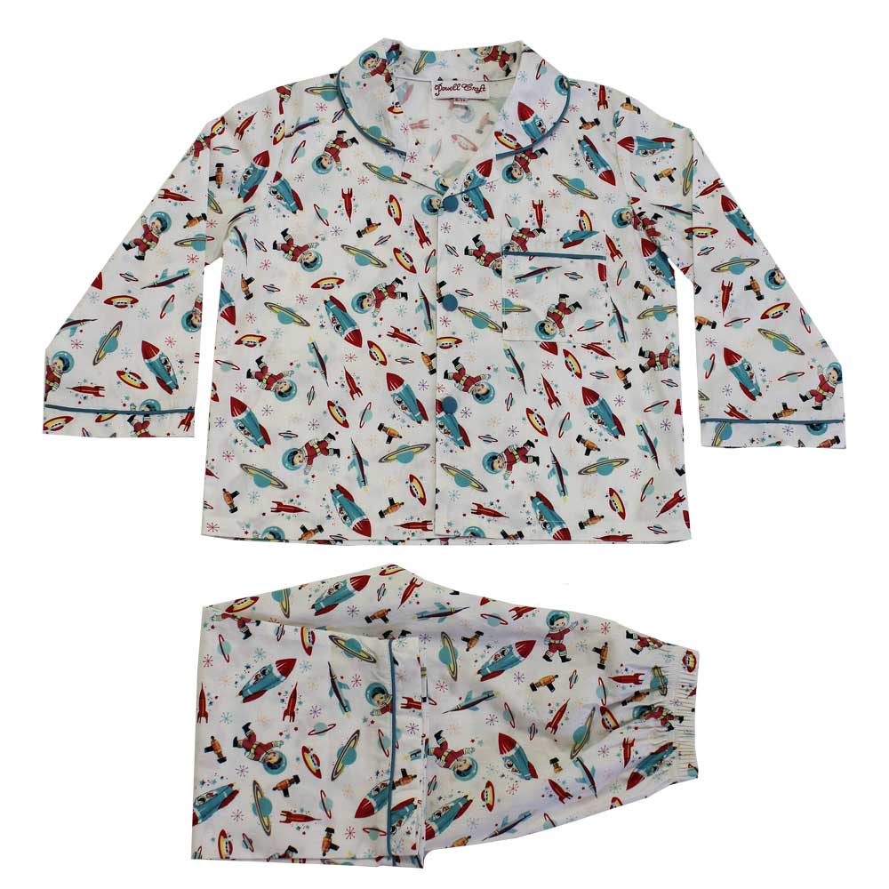 Children's Retro Space Traditional Cotton Pyjamas