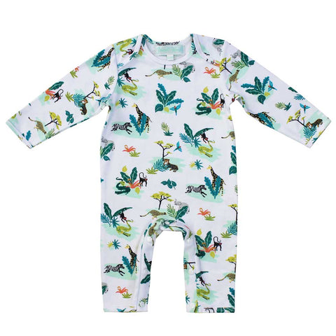 Dinosaur Print Long Sleeve Baby Jumpsuit