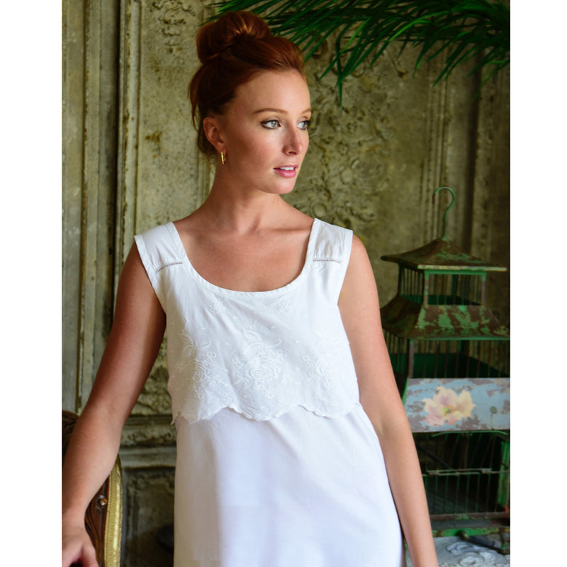Ladies White Rose Embroidered Sleeveless Nightdress 'Sophie'