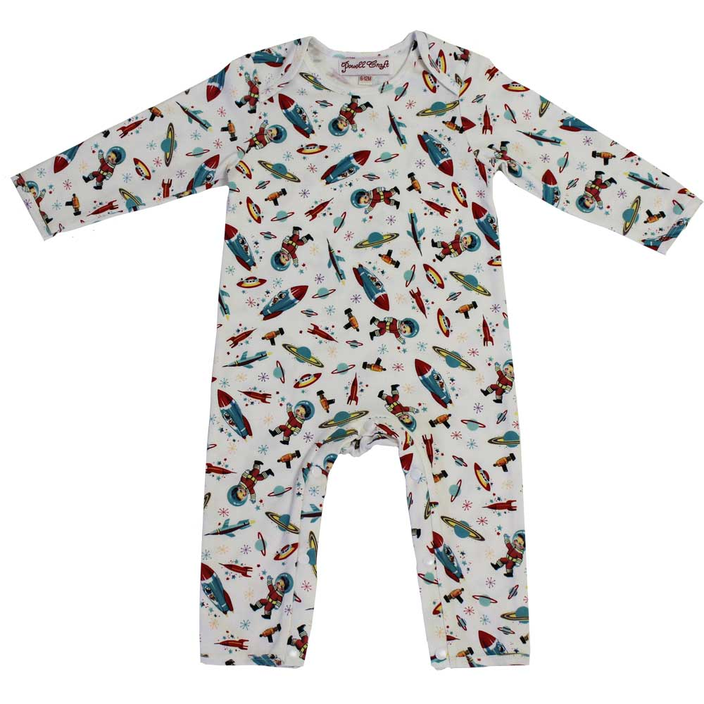 Retro Space Print Long Sleeve Baby Jumpsuit