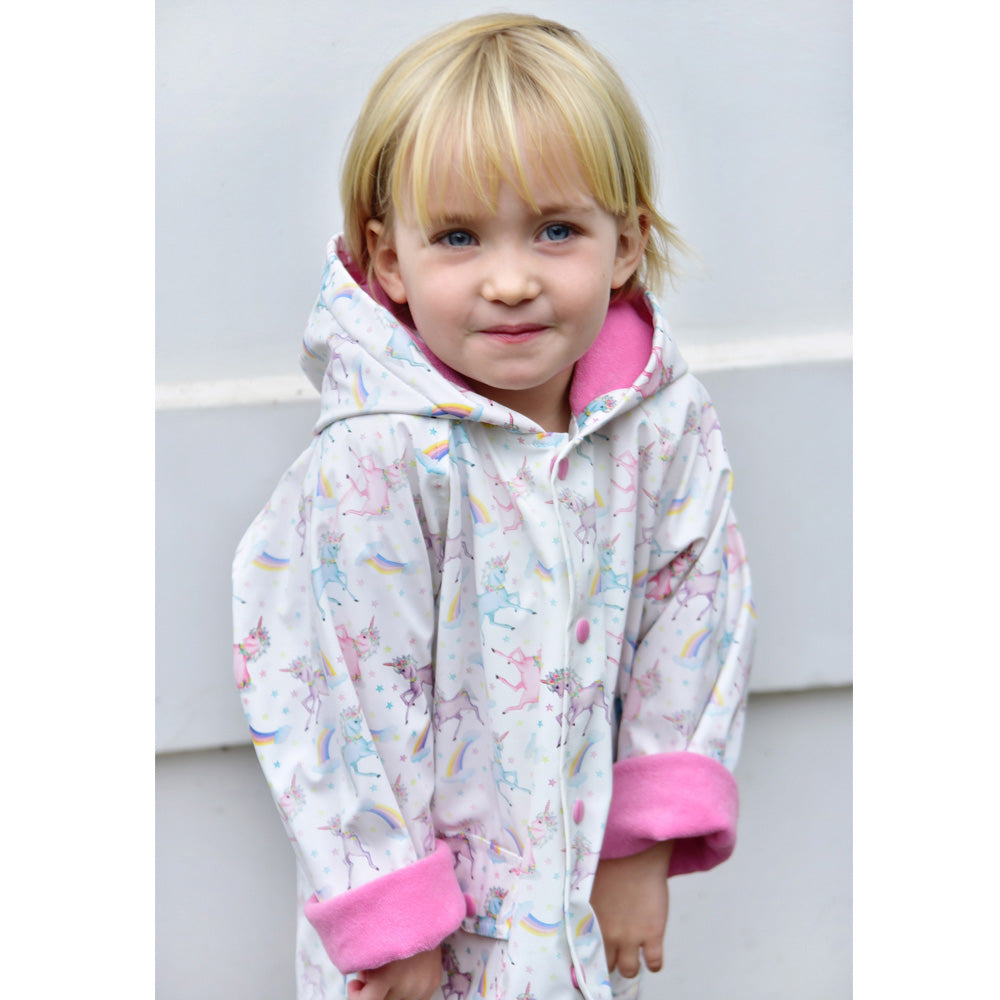 Girls White Unicorn Print Raincoat