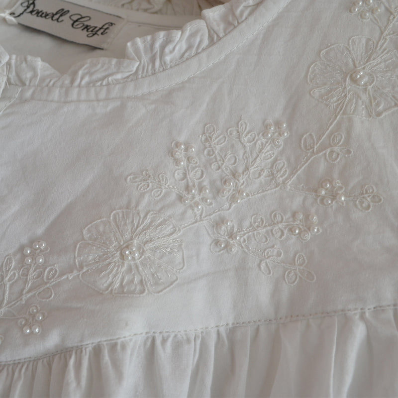 Ladies White Embroidered Sleeveless Nightdress 'Veronica'