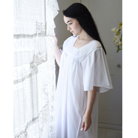Ladies White Cotton Strappy Embroidered Bust 'Rachael' Nightdress