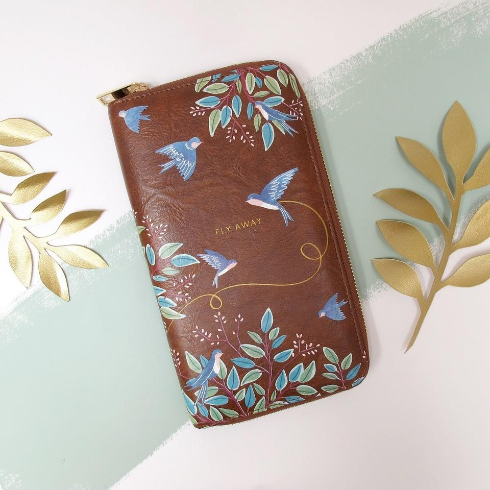 Brown Faux Leather Secret Garden Birds Travel Wallet