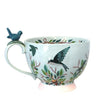 Blue Illustrated Bird Tea Cup With Gift Box