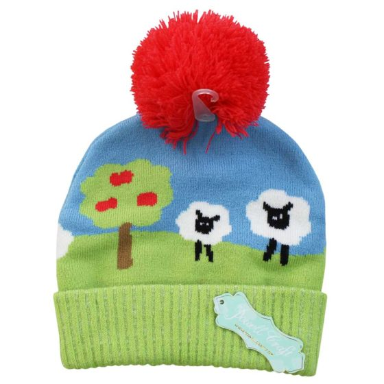 Knitted Tractor Hat with Pom Pom