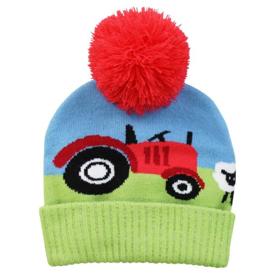 Tractor Knitted Hat with Pom Pom