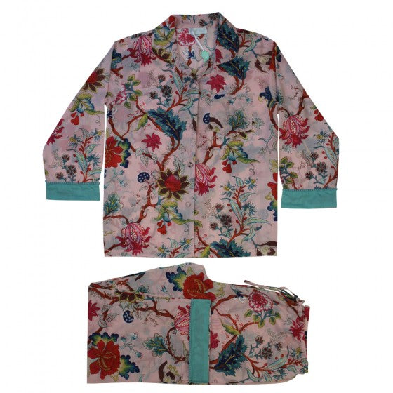 Ladies Pink Floral Print Cotton Pyjamas
