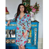 Ladies Turquoise Birds of Paradise Print Cotton Nightshirt
