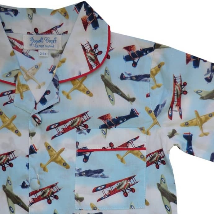 Childrens Vintage Spitfire Aeroplane Cotton Pyjamas