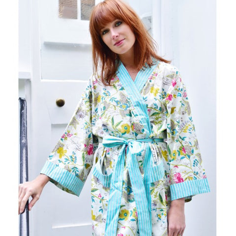 Ladies Mint Green Floral Print Cotton Dressing Gown