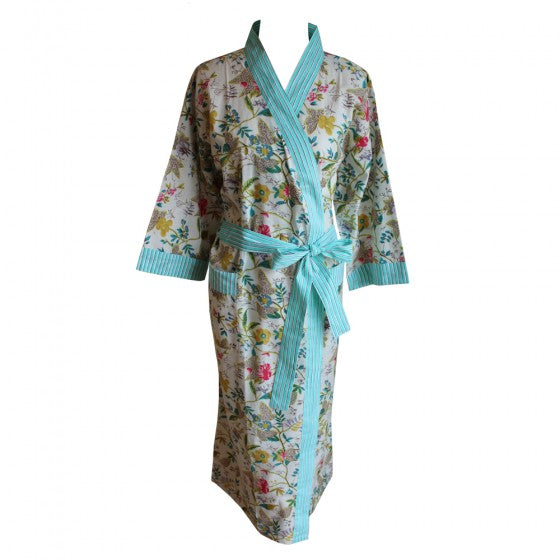 Ladies White Leaf Floral Print Cotton Dressing Gown