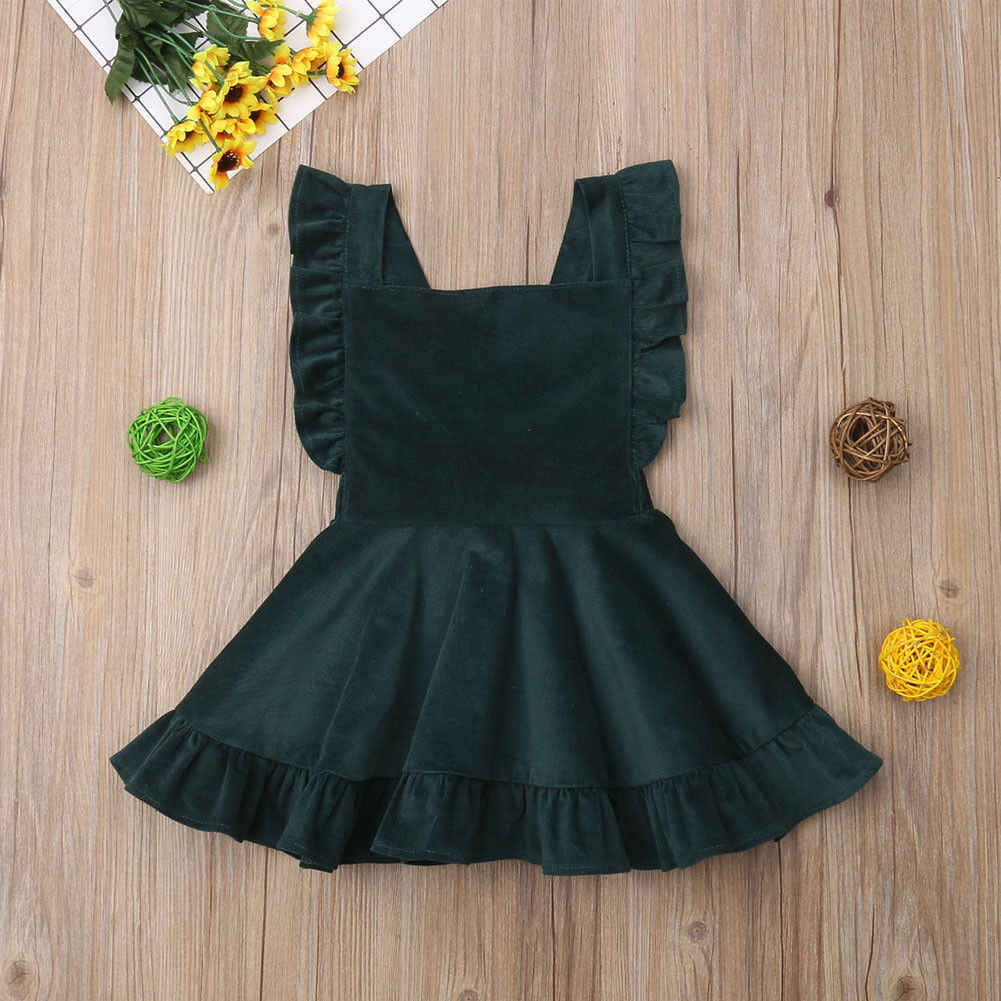 Newborn Kids Baby Girls Dress Suspender Party Skirts Toddler Girls Autumn Clothing Cotton Brown Vintage Print Dresses 2019 New