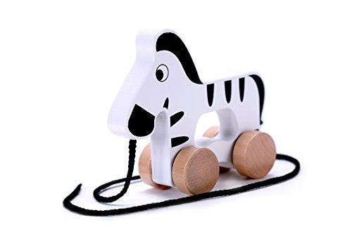 Push & Pull Zebra Wooden Pull Along Toy Early Development Toys for 1 Year Old Baby Toddler