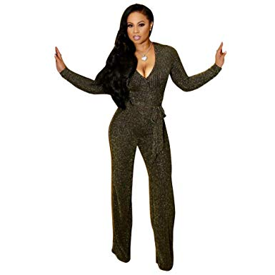 Echoine Flare Sleeve V-neck Sexy Jumpsuit Slim Elegant Female Rompers Evening Party Playsuit Club Outfits Flare Pants Overalls