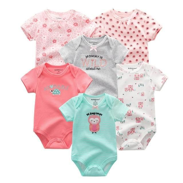 6PCS Newborn Baby Boys Girls Bunny Summer Clothes 2019 New Fashion Cotton Baby Bodysuits Short Sleeve body Baby Unisex jumpsuit