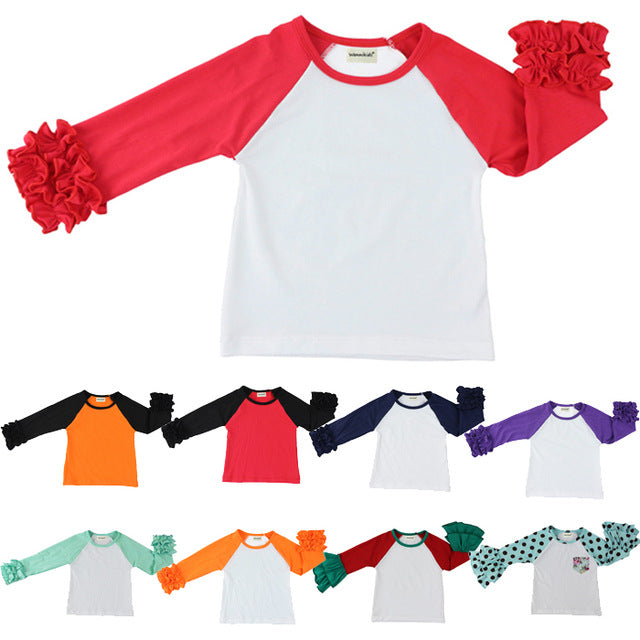 free shipping girls clothes o-neck baby girls kids icing ruffle raglan tops shirts girls casual tops fall Autumn top T-shirt