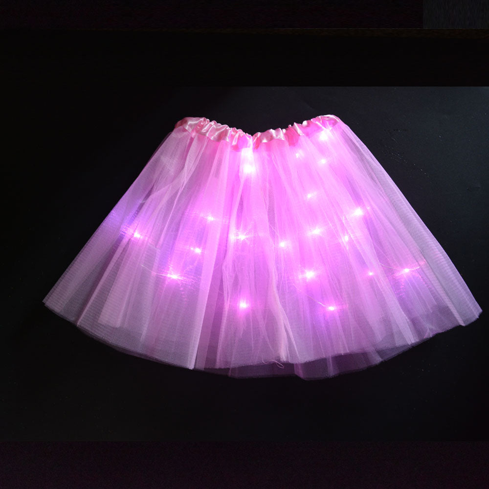 Children Birthday Dance Led Lights Tutu Mesh Party Skirts For Performance Sexy Light Up Ball Mini Tutu Fancy Dress led party