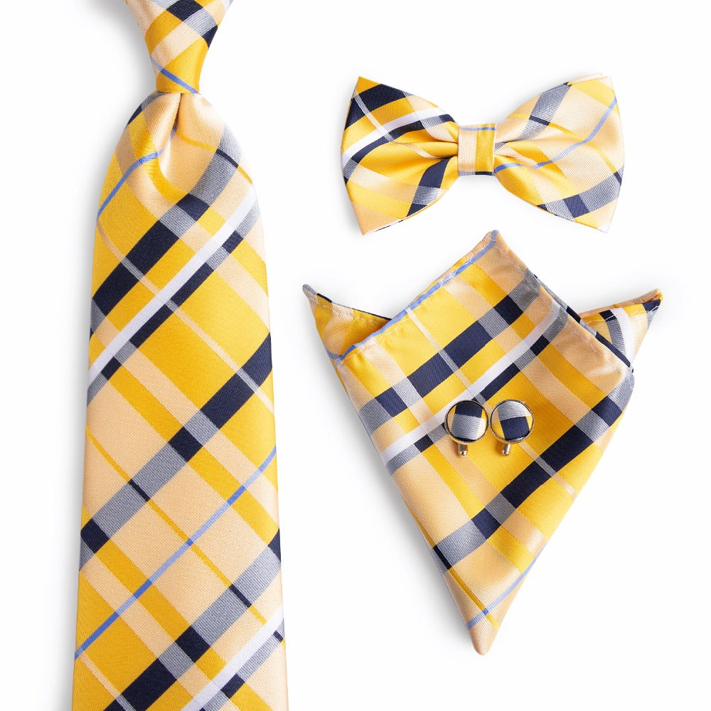 Fashion Wedding Plaids Necktie & Pocket Square Towel & Bow Tie Set Mens Suit Papillon Corbatas Handkerchief Tie gravata NL-0044